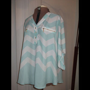 Rue+ Plus Size 1X Chevron Blouse Hi Lo Shirt Top